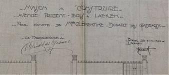 Avenue Prudent Bols 91, Bruxelles Laeken, signature de la commanditaire (Clémentine Douert des Gadeaux) et de l'architecte (Louis Tenaerts) sur les plans, AVB/TP 42866, 1922