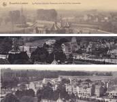 Montage à partir de cartes postales anciennes : évolution du quartier De Wand et de l'avenue des Croix du Feu, Bruxelles Laeken, où Louis Tenaerts construit un ensemble : années 1920, après 1935, fin des années 1930 ou plus tard  (© Collection cartes postales Brussels Art Deco Society)