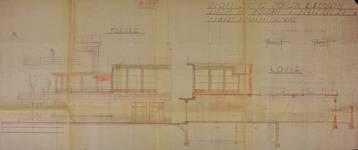 Ancien café-restaurant Au Solarium du Parc, devenu Auberge de la Pergola, avenue des Pagodes 445, Bruxelles Laeken, projet d'agrandissement, élévation et coupe, AVB/TP 51367, 1936