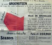 Affiche pour la vente publique des terrains sur lesquels seront construit les bâtiments de l'architecte Louis Tenaerts à l'angle de la rue De Wand et de l'avenue des Croix du Feu, Bruxelles Laeken,  AVB TP 50595, 1937