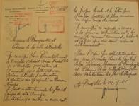Avenue Prudent Bols 91, Bruxelles Laeken, lettre de demande du commanditaire et architecte (Louis Tenaerts) pour la construction d'une annexe, AVB/TP 542.53, 1925