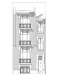 Rue Edmond Tollenaere 98, Bruxelles Laeken, dessin de la façade sur base du projet d'origine (© ARCHistory, 2020)