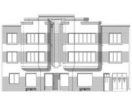 Avenue Prudent Bols 68 | Rue Léopold Ier 218, Bruxelles Laeken, dessin de la façade sur base du projet d'origine (© ARCHistory, 2020)