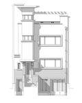 Avenue Coghen 28, Uccle, dessin de la façade sur base du projet d'origine (© ARCHistory, 2020)