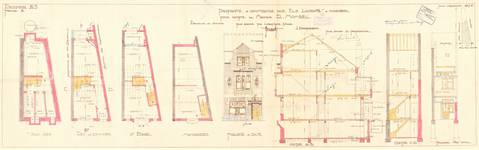 Rue Docteur Elie Lambotte 41, Schaerbeek, élévations, coupe, plans (partiellement réalisés), ACS/Urb. 74/41, 1928