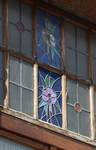 Rue des Augustines 101, Jette, détail d'une imposte garnie de vitraux (© ARCHistory/APEB, photo 2020).