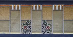 Rue des Augustines 105, Jette, vitrail de l'imposte de la fenêtre du rez-de-chaussée (© ARCHistory/APEB, photo 2020)