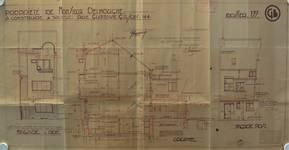 Rue Gustave Gilson 190, Bruxelles Laeken, élévations et coupe, AVB/TP 40543, 1932