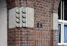 Rue des Glaïeuls 29, Uccle, détails façade (© ARCHistory/APEB, photo 2020)
