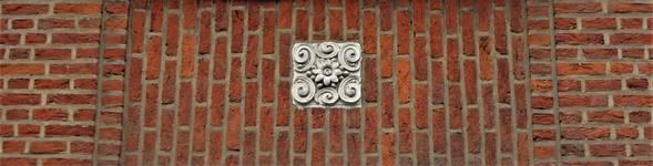 Rue Portaels 42-44, Schaerbeek, détail de la façade (© C. Dubois, photo 2020)