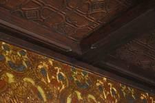Place de la Grotte 5, Jette, salle à manger, détail du papier peint et du plafond (© ARCHistory/APEB, photo 2020)