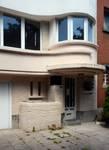 Avenue Marechal Joffre 36, Forest, porte d'entrée et détails premier étage (© ARCHistory/APEB, photo 2020)