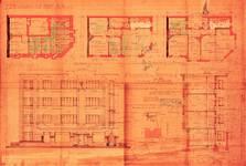 Rue Meyerbeer 163   Chaussée d'Alsemberg 374, Uccle, élévation, coupe, plans, ACU/Urb. 8113, 1934