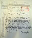 Rue Louis Wittouck 45, Bruxelles Laeken, lettre de demande du commanditaire (Joseph Tenaerts) à la Ville de Bruxelles pour la construction d'une maison, AVB/TP 49840, 1923