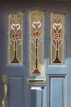 Rue des Augustines 105, Jette, vitraux de la porte d'entrée (© ARCHistory/APEB, photo 2020)