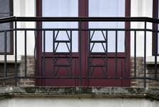 Rue Steppé 35, Jette, détail ferronnerie balcon second étage (© ARCHistory/APEB, photo 2020)