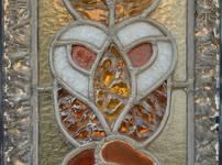 Rue des Augustines 105, Jette, détail vitrail de la porte d'entrée (© ARCHistory/APEB, photo 2020)