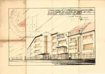 Perspective des immeubles à ériger à l'angle de la rue De Wand et de l'avenue des Croix du Feu, présenté en vue d'obtenir une dérogation de hauteur, 1936, Bruxelles Laeken, AVB/TP 5059.